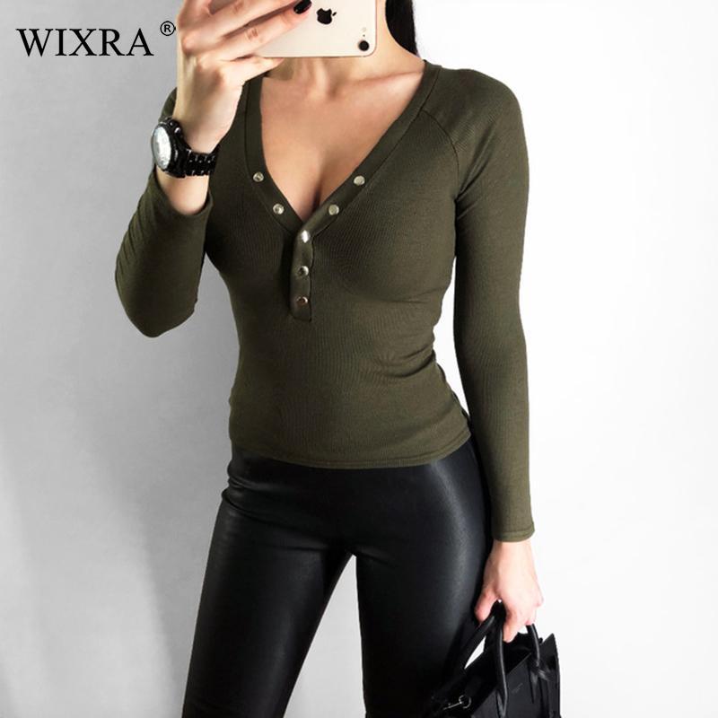 926869c3b4 Wixra Basic V Neck Women Cotton T Shirts Female Casual Tops Long Sleeve T  Shirt Women Soft Elegant Knit Top Tees With Button T Shirt Shirt Designs T  Shirt ...