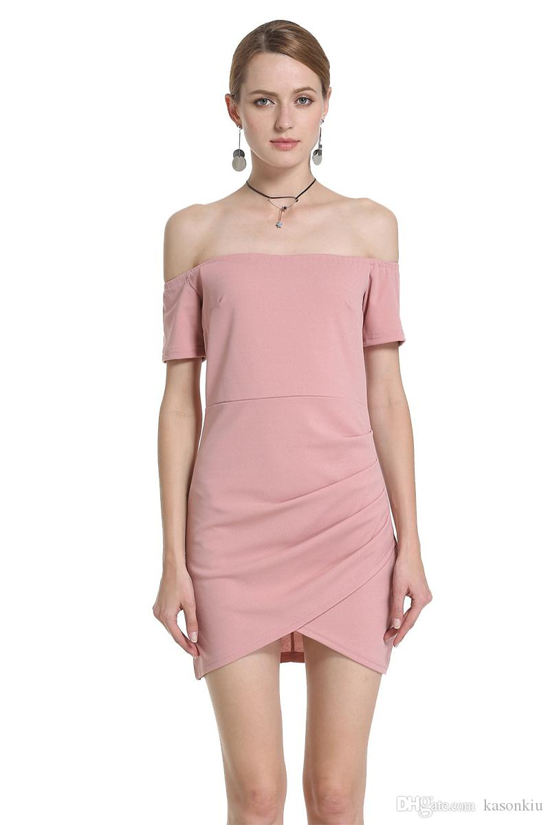 b7d2365a06a 2018 Summer Dress Casual Off The Shoulder Solid Women Dress Elegant Short  Sleeve Asymmetrical Mini Dresses B83014 Cocktail Dress Shopping Cute Dresses  For ...
