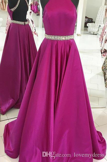 Beautiful Fuchsia Halter Cheap Evening prom Dresses Long 2018 Open Back Bling Bling Crystal Beaded A line Satin Real Photo Formal Dress
