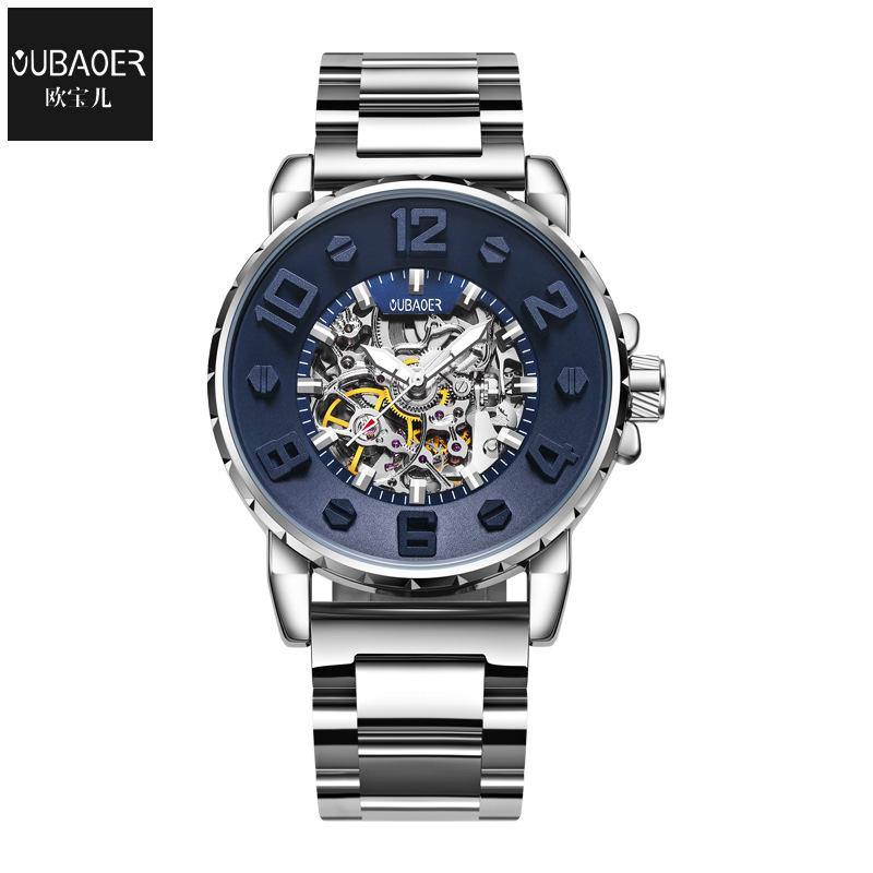 men watch mens watches Mechanical automatic stainless steel waterproof man wristwatches oubaoer brand luxury men's clocks