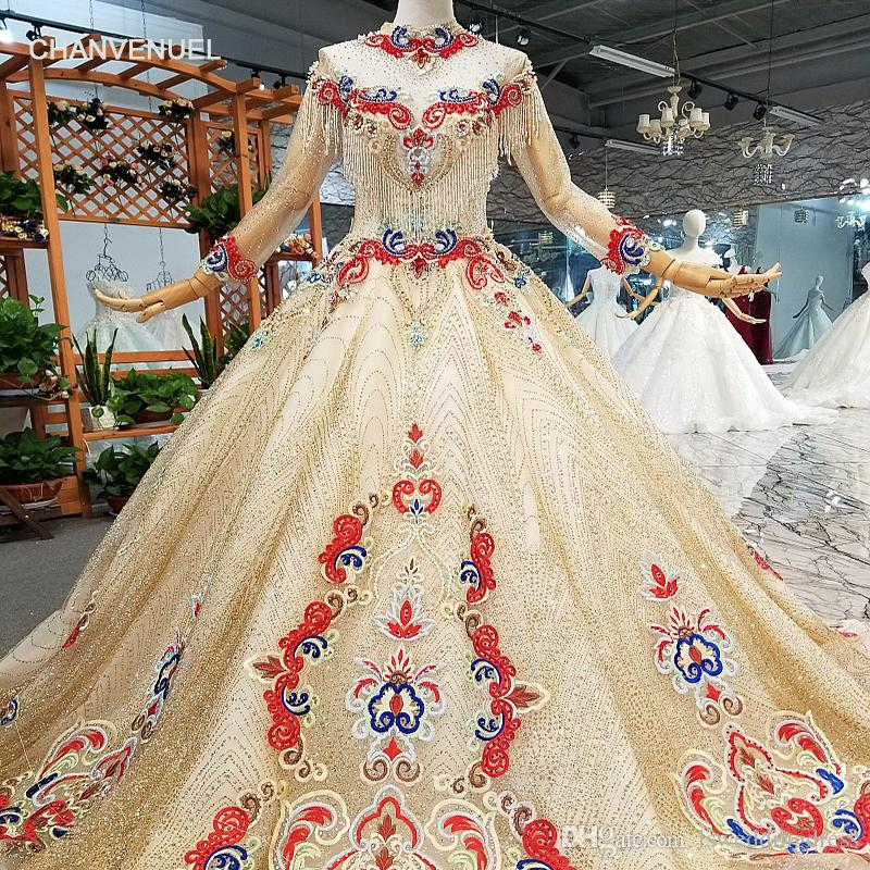 2c22f9d473a1e 2019 Luxury Evening Dresses Long High Neck Three Quarter Sleeves Lace Up  Back Ball Gown Shiny Multi Color Evening Dresses With Train