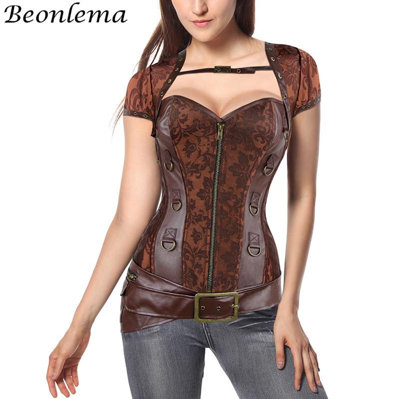 1a60854deb 2019 BEONLEMA Brown Short Sleeve Corset Steampunk Jacket Leather Floral  Costumes Women Clothing Plus Size 6xl Gorsety I Gorsety Sexy From Xiatian6