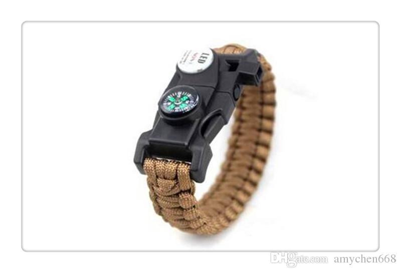Mix Renk Survival Bilezik Pusula SOS LED Sinyal Işık Paracord Ayarlanabilir Toka El Yapımı Paracord Bağlantı Tırmanma Halat Kordon