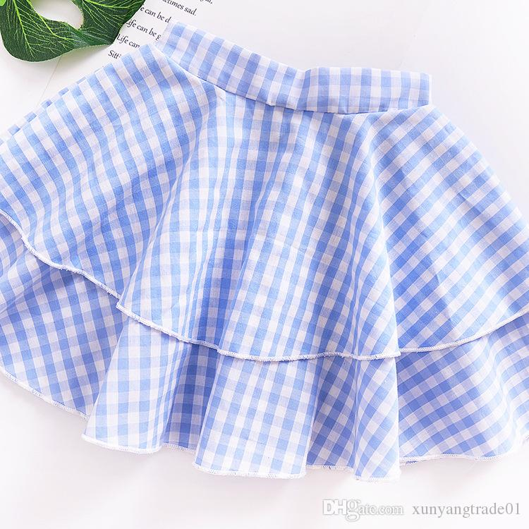 Baby Clothes Girls Dress Sweet Set INS Summer Fashion Blue Plaid Bowknot Puff Sleeve Tops Pleated Skirt Set Kids Clothing 226