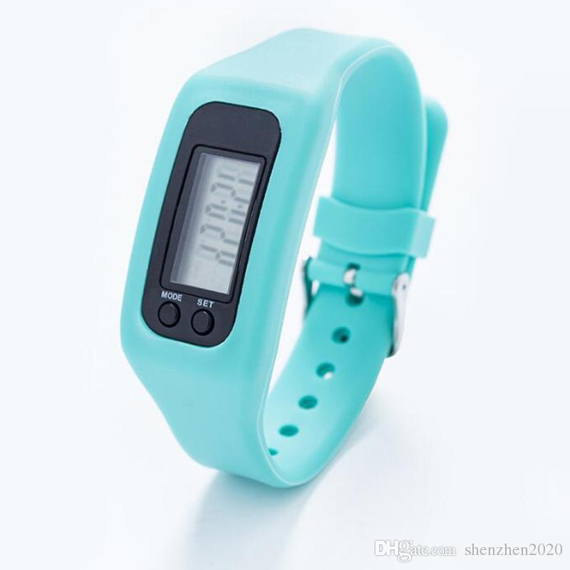 Digital LED Pedômetro Inteligente Multi Relógio de silicone Run Passo Curta Distância Calorie Counter Watch Eletrônico Pulseira Pedômetros Coloridos Novo