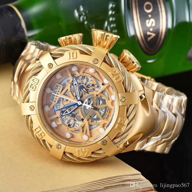 f5b1d1710d6 Compre Relógios De Pulso Homens Relógio De Marca De Luxo AAA + 18K Homens  De Ouro Relógios Desportivos TAG Cronógrafo Relógio De Safira DZ Mens  Relógios ...