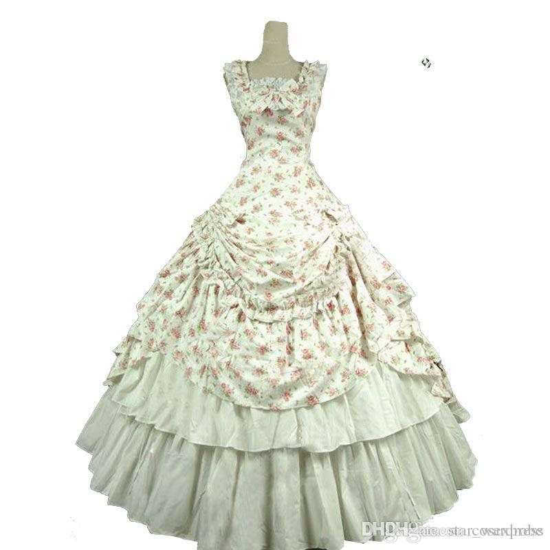 ae2811b1fa44 Sexy Summer Gothic Victorian Historical Party Dress Sleeveless Retro  European Court Rococo Baroque Ball Gowns Costume Prom Dresses Online White  Formal ...