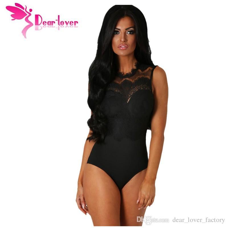 5d07d97066 2018 Bodysuit Women Sexy Black Lace High Neck Cut Out Back Bodycon ...
