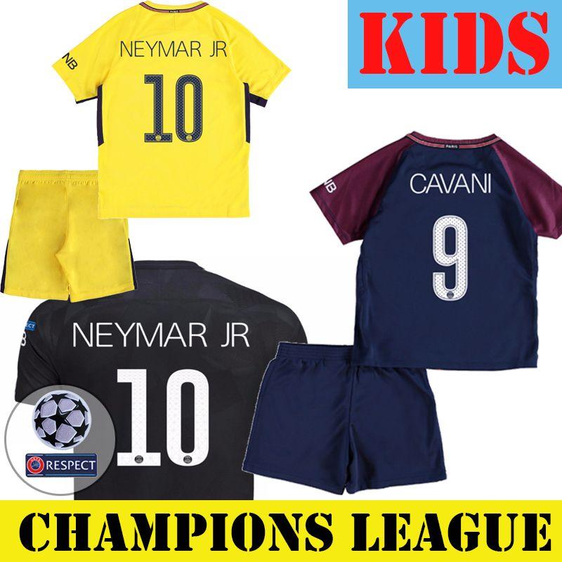 cheap for discount 325aa 4b0c9 SG Kids Football Kits CAVANI MBAPPE NEYMAR JR VERRATTI Away 3rd Soccer  Jersey Shirts With Short Set Youth Uniforms Champions League