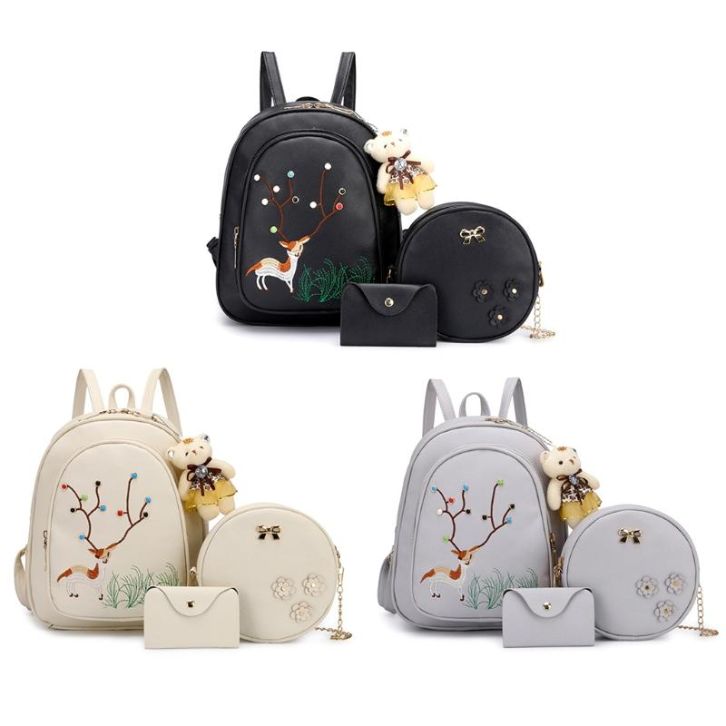 a856b84509e Women S Backpack Synthetic Leather Embroidery Deer Rucksack Travel  Schoolbags Polyester Shoulder Bag Messenger Bags Leather Backpack From  Ajshoesfactory