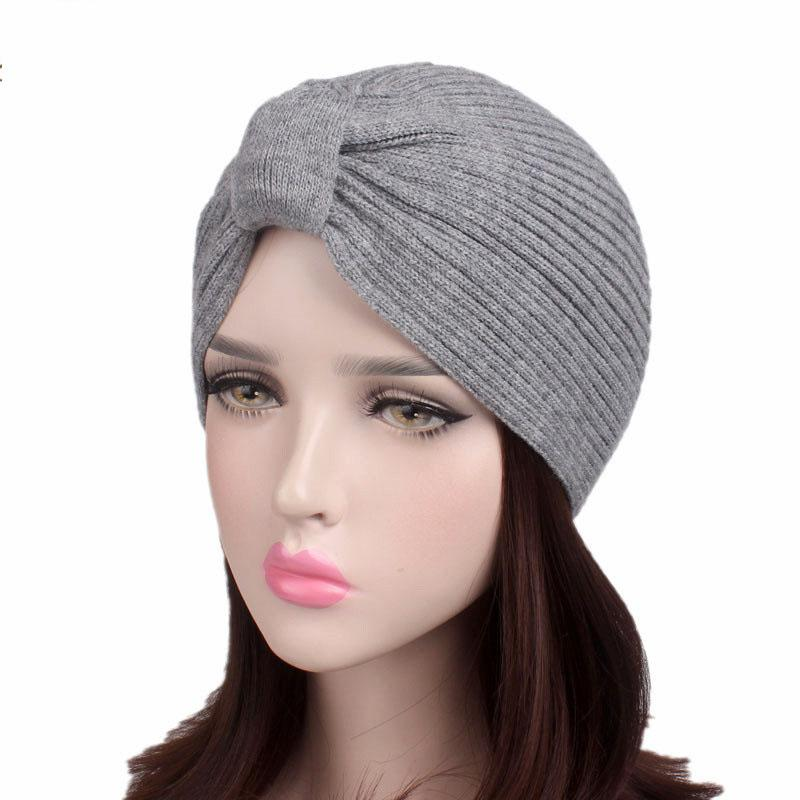 c38bb775823 Hot!!! Top Quality Stretchy Knitted Turban Hat Head Wrap Band Muslim ...