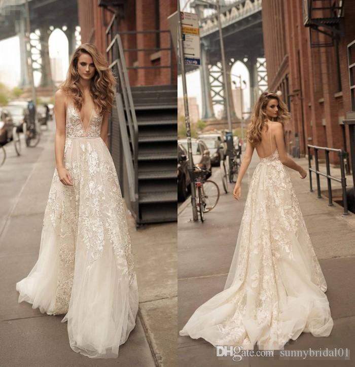 2018 Berta Lace A Line Wedding Dresses Sexy Deep V Neck Open Back Sweep Train Ivory Lace Boho Bridal Party Gowns For Beach