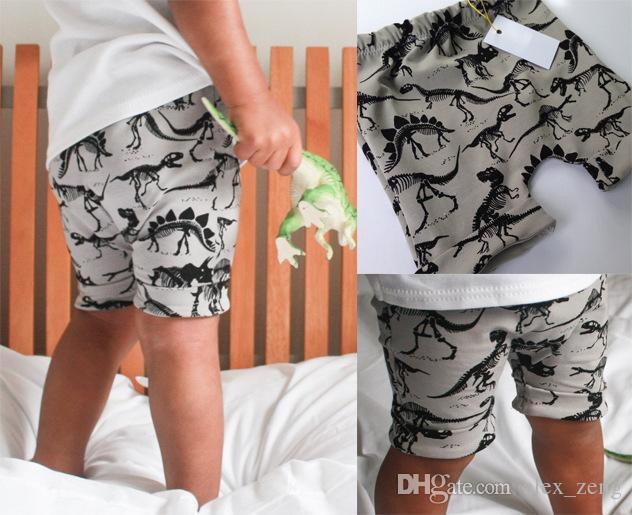 Meninos Meninas Algodão Dinossauro Impresso Calças Curtas Crianças Harem Pants Elasticidade Faixa de Roupas 2018 Nova Moda Crianças Roupas Frete Grátis