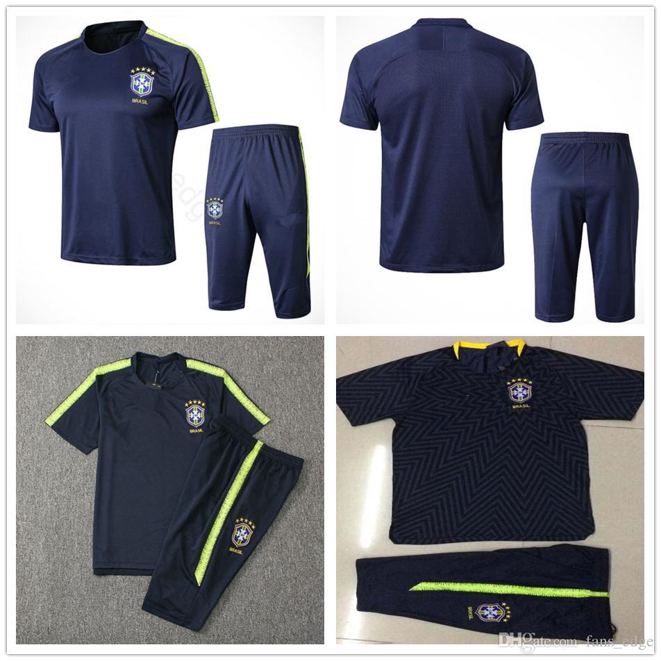 86c58ae8f7186 2018 World Cup National Brasil Short Sleeve Training Suit Custom Blue  Yellow JESUS COUTINHO Brasil Soccer Football Shirt Tracksuit Kit