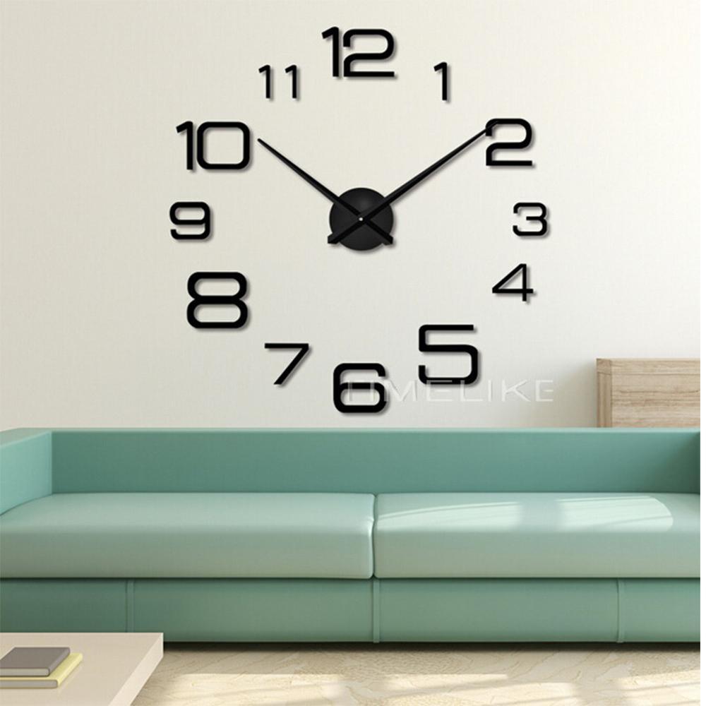 Living Room 3d Large Wall Clock Diy Mirror Wall Stickers Quartz ...