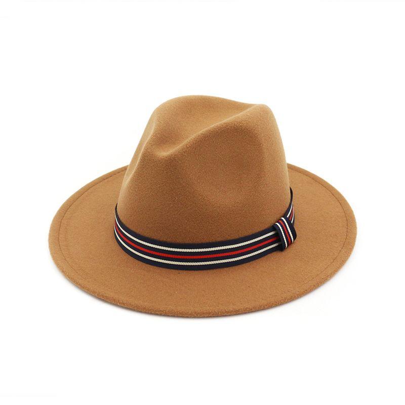 2f13641de Vintage Plain Men Women Jazz Fedora Hats Black Floppy Jazz Striped Band  Wool Felt Panama Sunhat Unisex Gambler Hat
