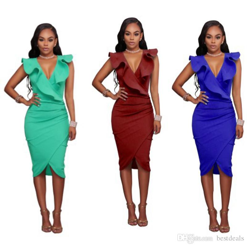 2018 New Design Summer Casual Sheath Dresses Ruffled Neck Women Work Office Bodycon Dress Short African Prom Party Gowns FS3490