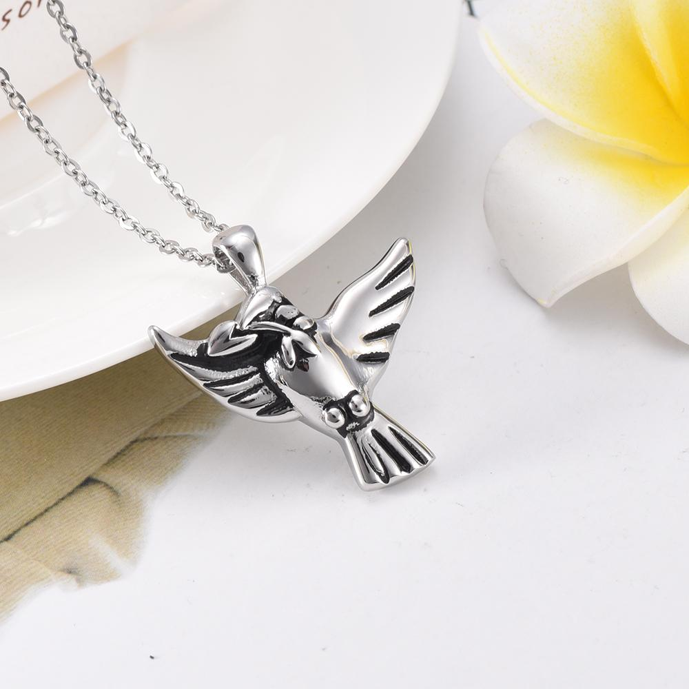 IJD7135 Owl Shape Stainless Steel Cremation Jewelry Pendant Necklace Crystal Memorial Ashes Keepsake Urn Necklace For Man