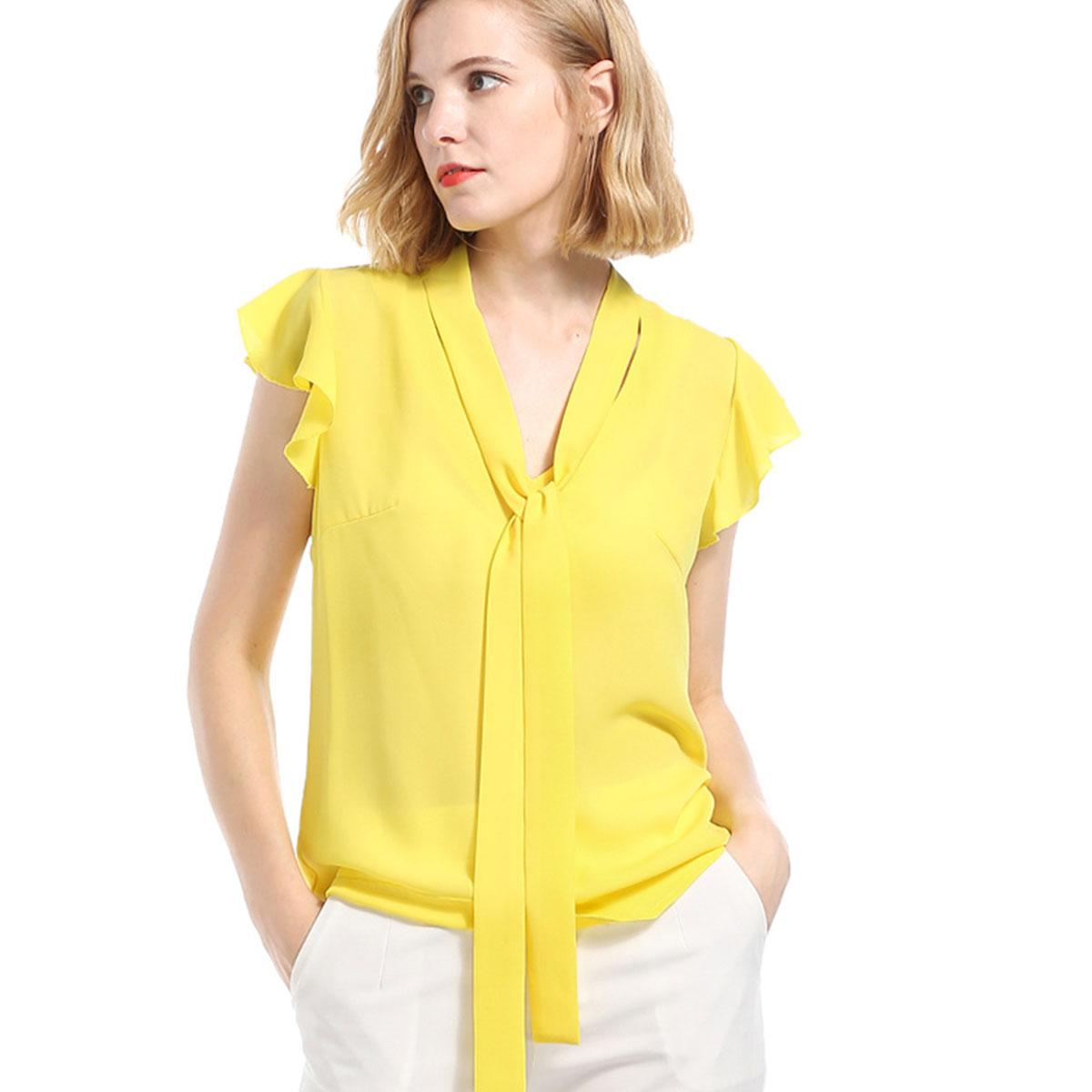 91e43ca2582 2018 Summer Women Casual Yellow Chiffon V Neck Tee Shirt Sleeveless Ruffle  Blouse Bow Sash Fit Beach Bandage Top
