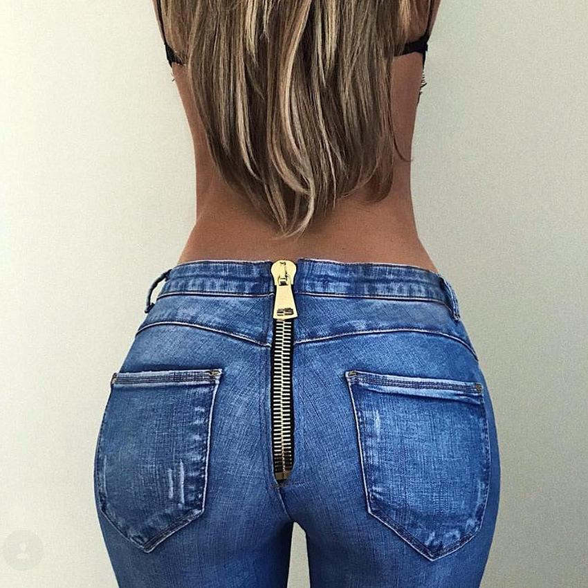 Pantalon Skinny Denim Biker Zip Streetwear Leggings Moto Crayon Élastique Stretch Taille Haute Sexy Slim Femme Jeans tshrQd