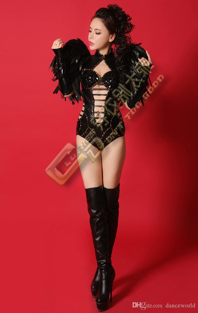 DS Songbird Siyah Tüy Omuz Elbise Balo Aşınma Sahne Performansı Dans Elbiseler Kristal Bodysuit Giyim Seti Seksi Moda Kostüm
