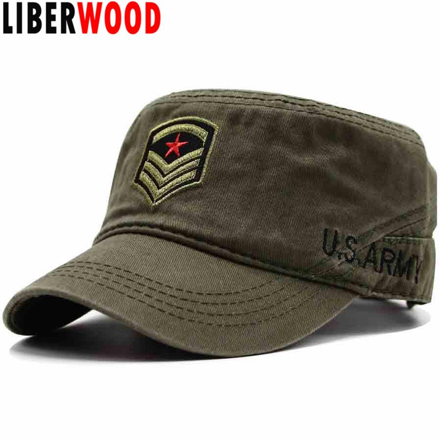 4ad5840dc4f LIBERWOOD US ARMY COMMAND SERGEANT MAJOR Rank INSIGNIA HAT MEN VINTAGE FLAT  TOP HAT CAP Embroidered COTTON OD BLACK WOMEN UNISEX Ball Caps Fitted Caps  From ...
