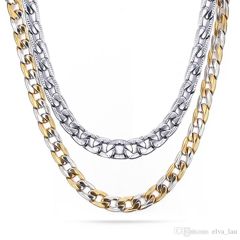 1ebb3c66434 2019 Miami Cuban Link Mens Necklace Chain 7MM Wide 24inch Silver And  Aureate Titanium Stainless Steel Embossed Texture Cuban Curb Chain From  Elva_lau, ...