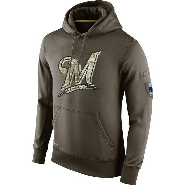 finest selection 47dc0 18a45 Milwaukee Sweatshirt Brewers Olive Salute To Service KO Performance  Baseball Hoodie men women