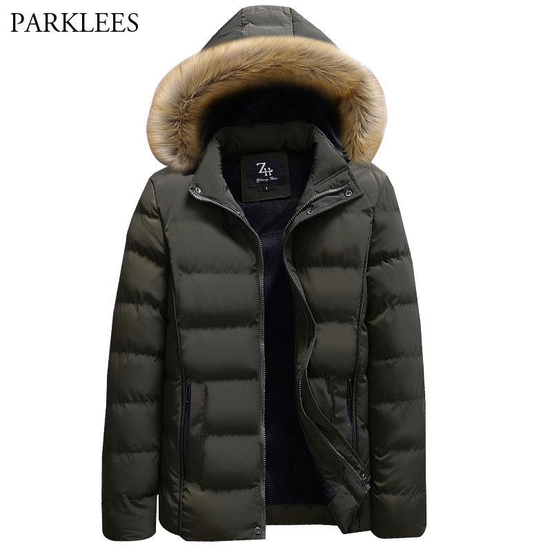 Winter Mens Jackets And Coats Fashion Thick Warm Cotton Long Parkas Men Causal Faxu Fur Collar Windbreaker Hooded Hat Detachable Jackets & Coats