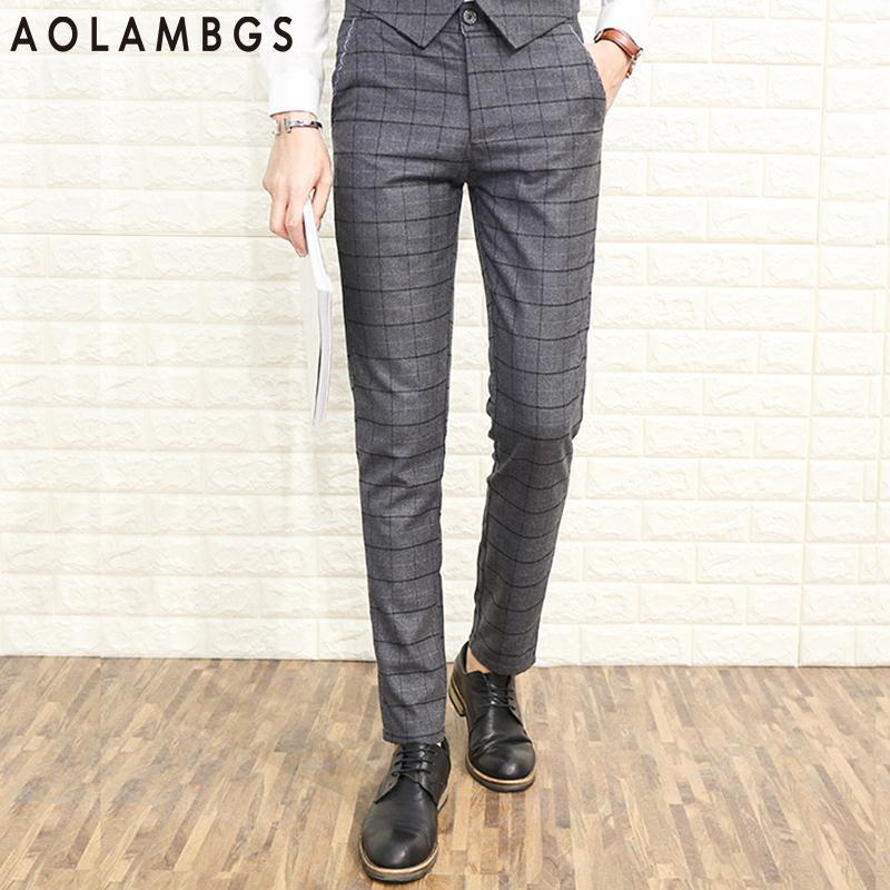 40 Men's Casual Trousers England Plaid Suit Pants Slim Fit Classic Interesting Men's Patterned Dress Pants
