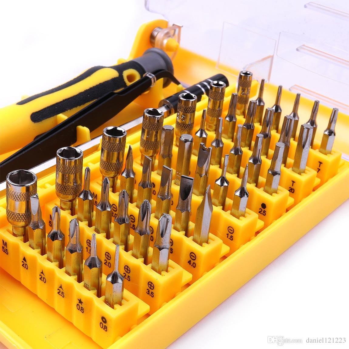 45 1 Tornavida Seti Değiştirilebilir Cımbız Uzatma Onarım Aracı Kiti Kutusu Cep Telefonu Tamir için, ev aletleri tamir vb