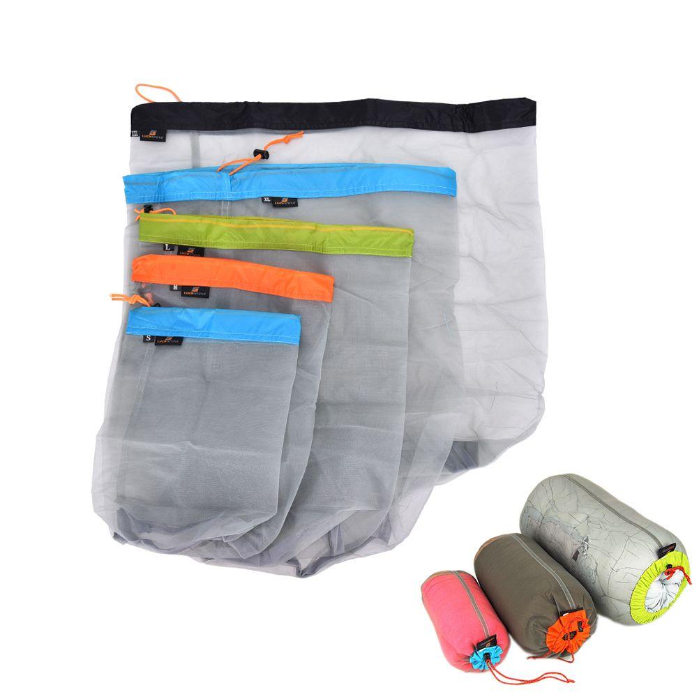 59287e196 1Pcs Portable Tavel Mesh Stuff Sack Drawstring Storage Bag Camping Sports  Ultralight Outdoor Camping Travel Kit Equipment 5 Size