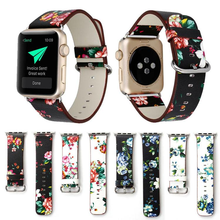 Flower PU Leather Strap For Apple Watch Band 42mm/38mm iWatch 3 2 1 Floral Printed Wristband Bracelet Watchband Belt