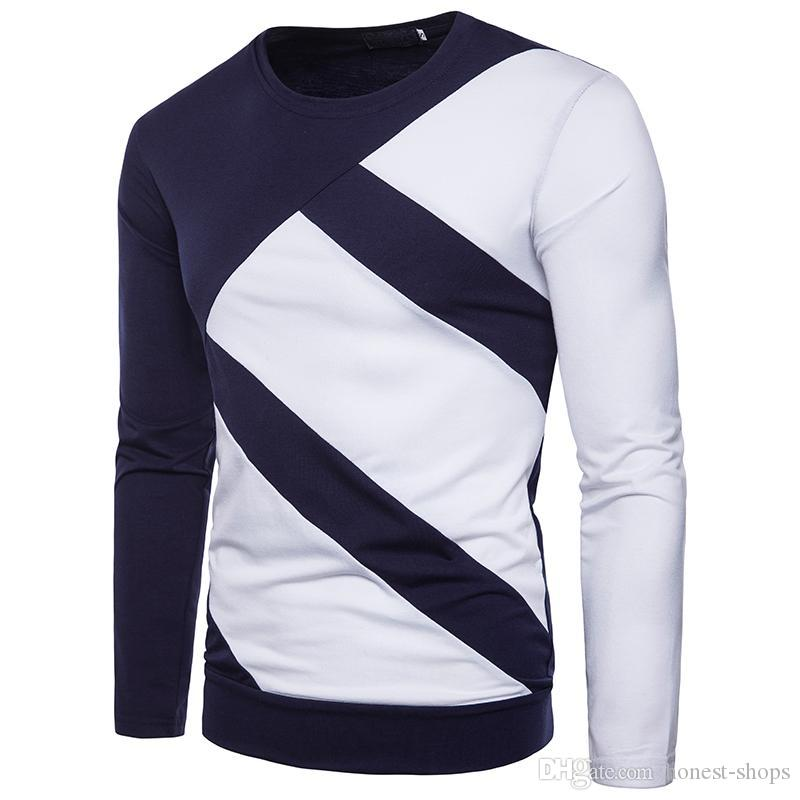 58148fb8f 2018 Mens Long Sleeve T Shirts Contrast Color O Neck Tees For Spring And  Autumn Fashion Panalled Slim Tops Funny T Shirts For Guys Fashion T Shirts  From ...