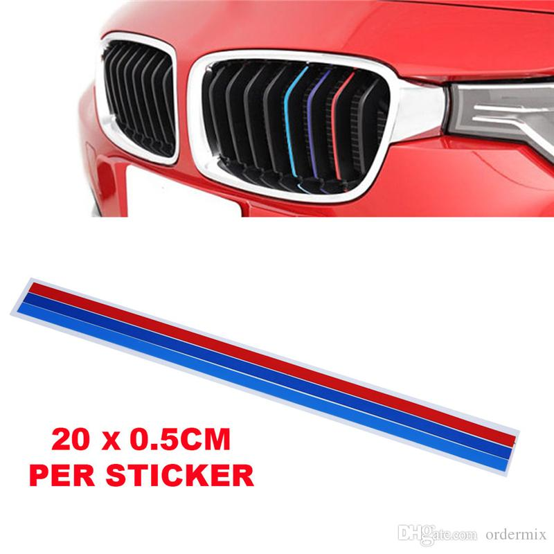 Araba Sticker Böbrek Grille Decal Sticker Spor Şerit BMW Için 3 Renkler Araba çıkartmaları Serisi çizgili Arabalar Styling Aksesuarla ...