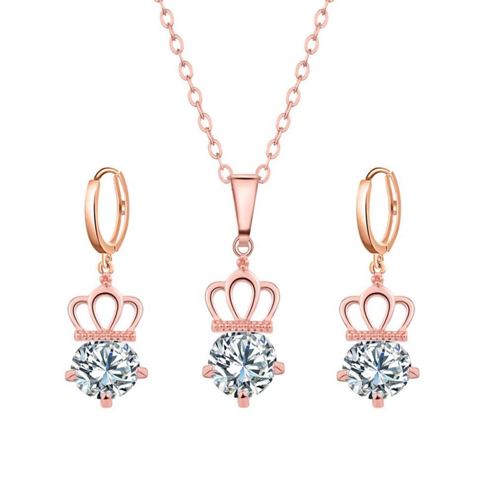 c41ac650c34f Compre Juego De Joyas De Moda Para Mujer Rhinestone Crown Necklace  Leverback Pendientes Acero Inoxidable Joyeria Mujer A  33.82 Del Linzicheng