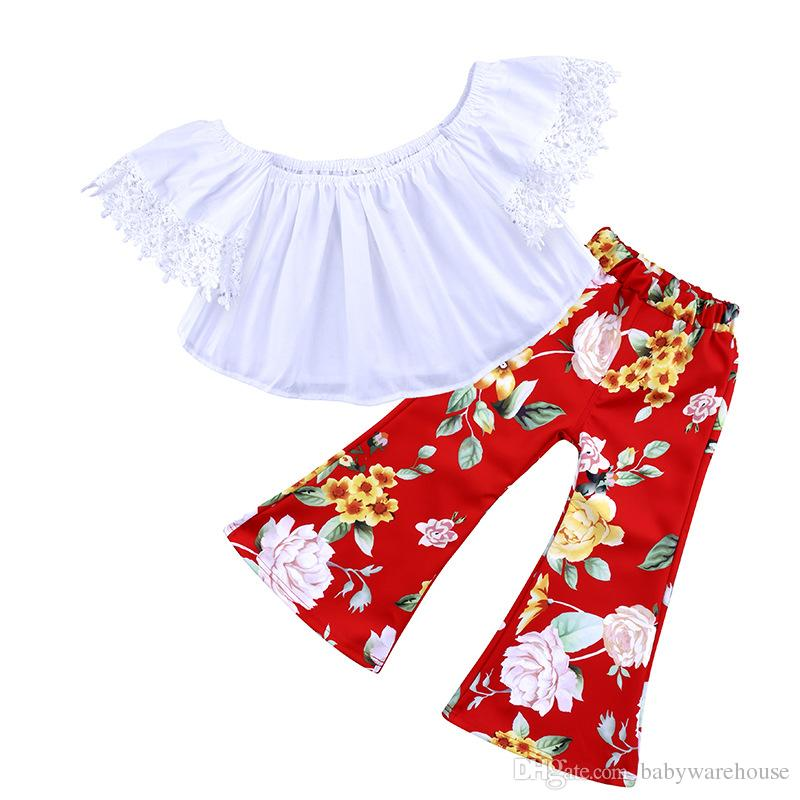 Kids Clothes For Girls 2018 Fashion Baby Girls Clothes White Lace Off Shoulder Tops Floral Printing Bell-bottoms Long Pants Outfits Children