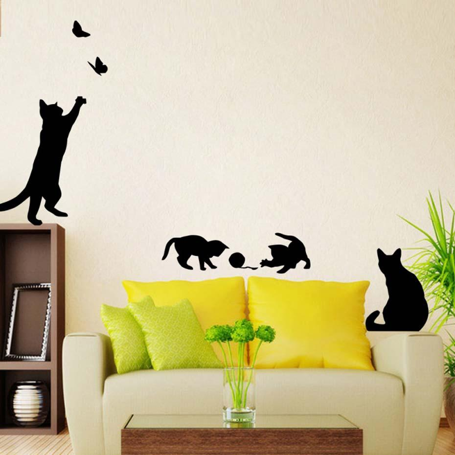 Cat Play Ball Butterfly Wall Stickers Lovely Cat Butterfly Ball ...