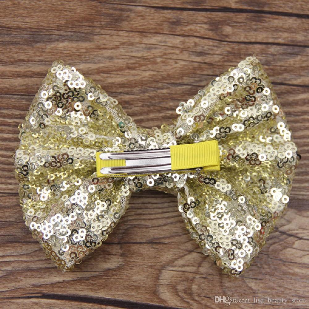 12 * 9.5 cm Grande Sirène Sequin Grosgrain Ruban Cheveux Arc Alligator Clips Barrette Bowknot Chapeaux Enfants Filles Cheveux Accessoires