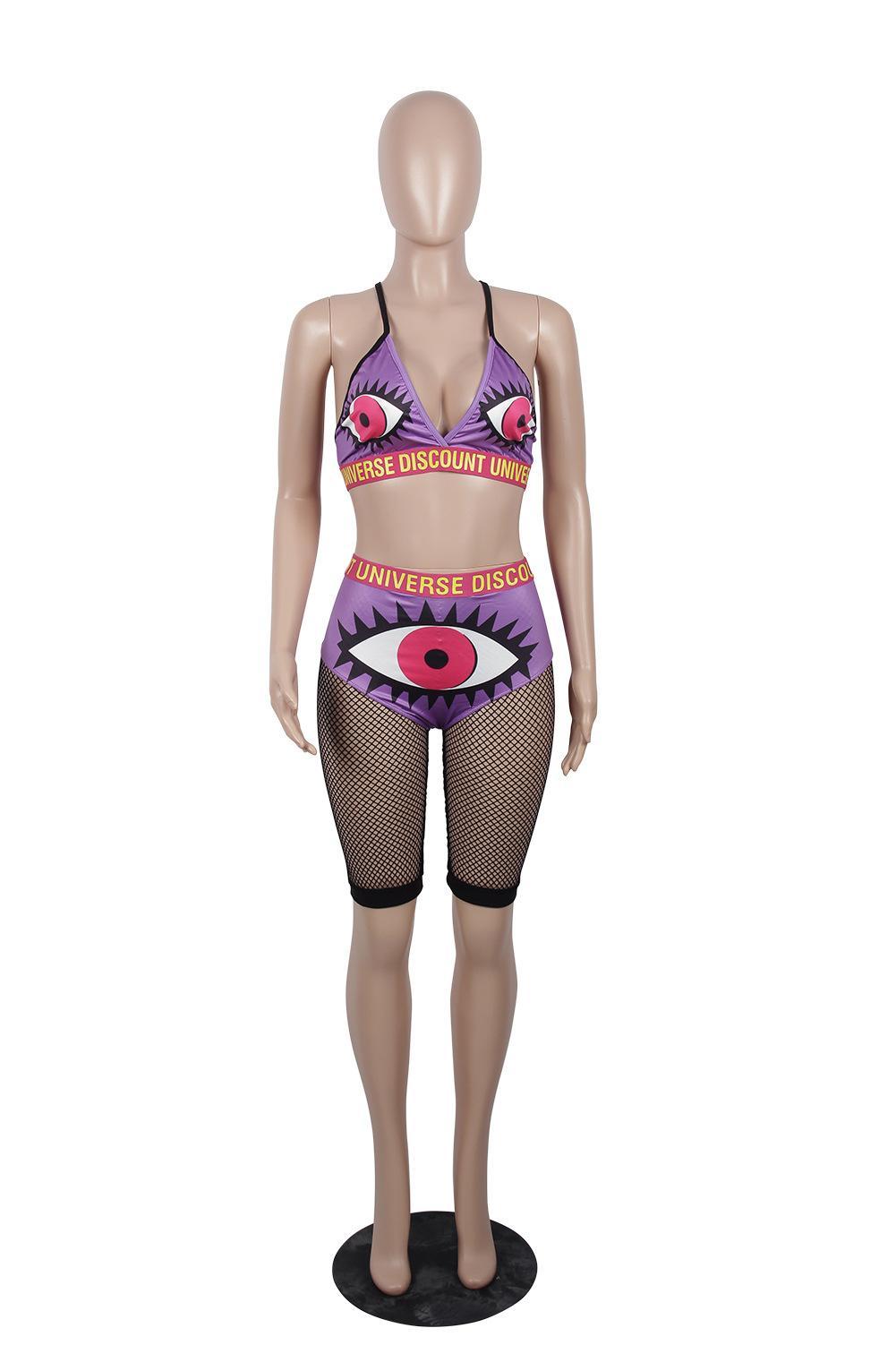 sexy print letter bra vest gauze shorts two pieces sets women girl plus size oversized summer spring autumn new beach swimwear bikini suits