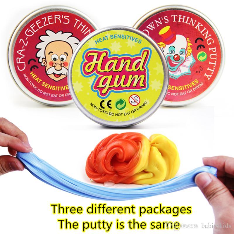 Inteligente Gum Temperatura criativa Mão Mudança Acontece Cor Slime Silly Putty Luz argila Fimo Plasticine Mud Dough Brinquedos caçoa o presente
