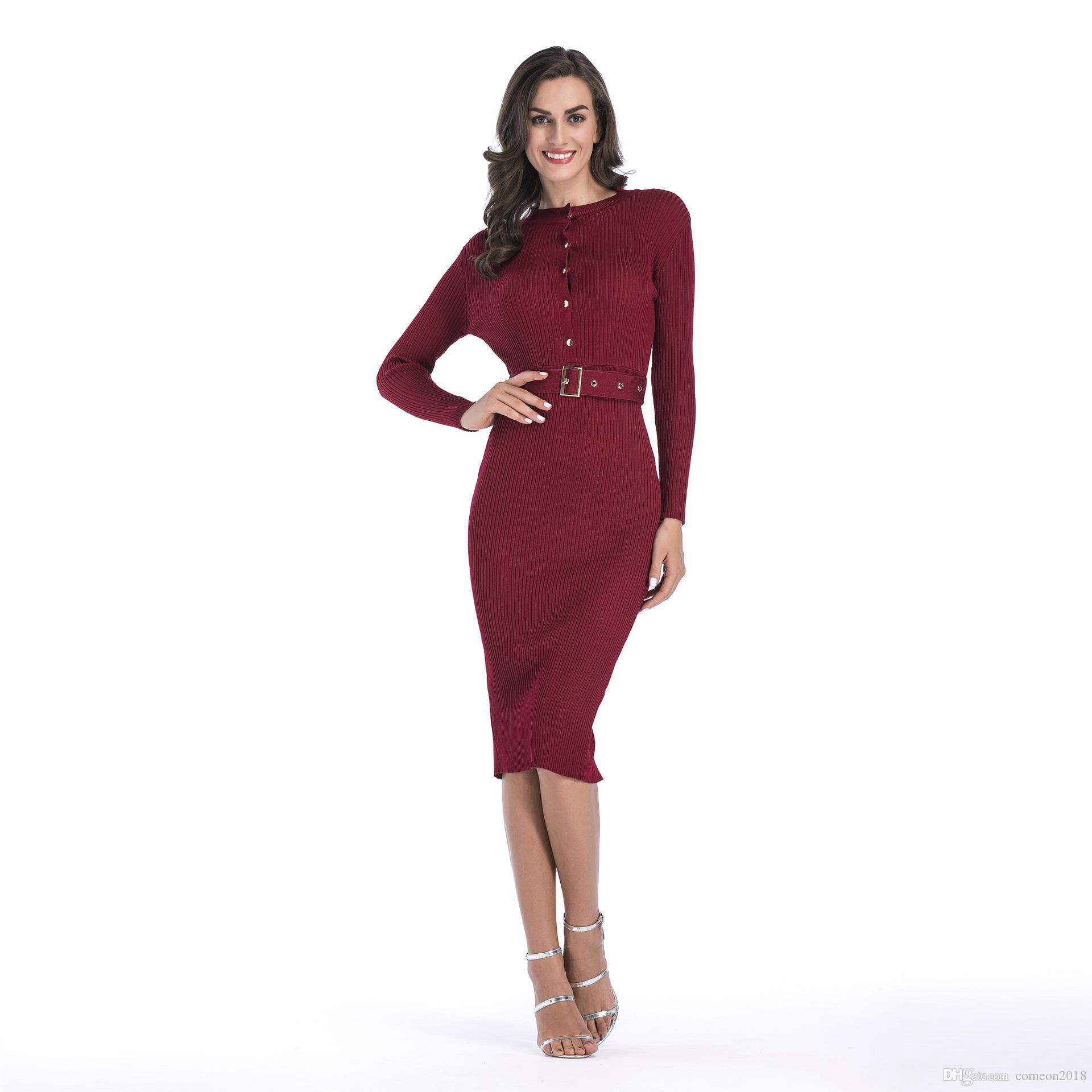 a394211f1172 Großhandel Mode Frauen Kleidung Bodycon Kleider Herbst O Neck Knit Split  Bleistift Kleid Mit Knopf Dekoriert Dünne Paket Hüfte Kleid Schärpen Von  Comeon2018 ...