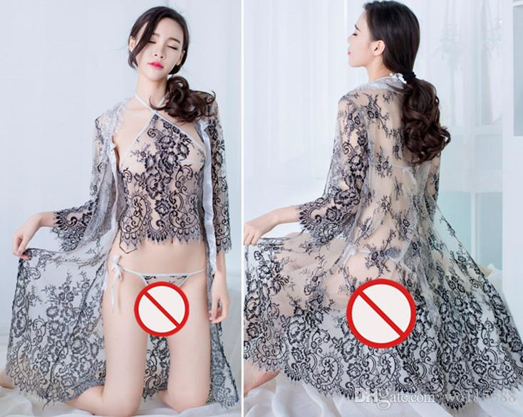 527eb86e323 2019 New Sexy Lingerie Cosplay Mesh Yarn Breast Milk Passion Suit  Perspective With Lace Tulle Mesh Embroidered Apron Pajamas Set Gr From  Wo115588