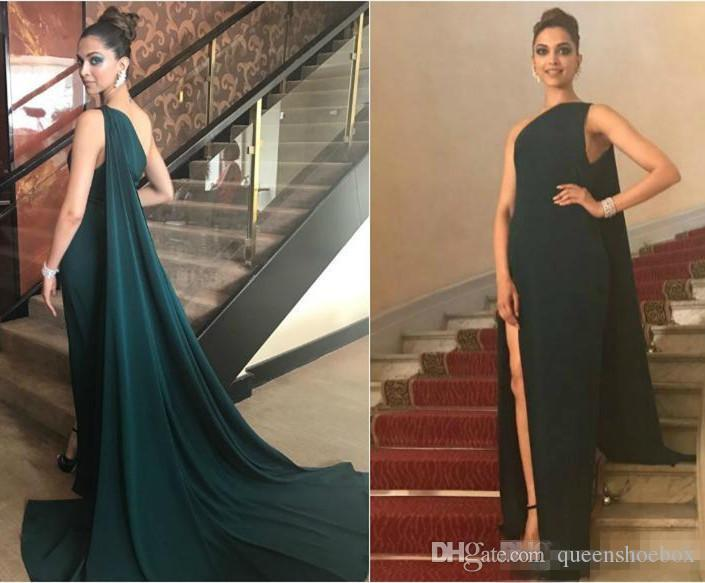 One Shoulder Dark Green Evening Dresses Thigh High Slits Sweep Train Simple Evening Party Gowns Sheath Mermaid Prom Dress