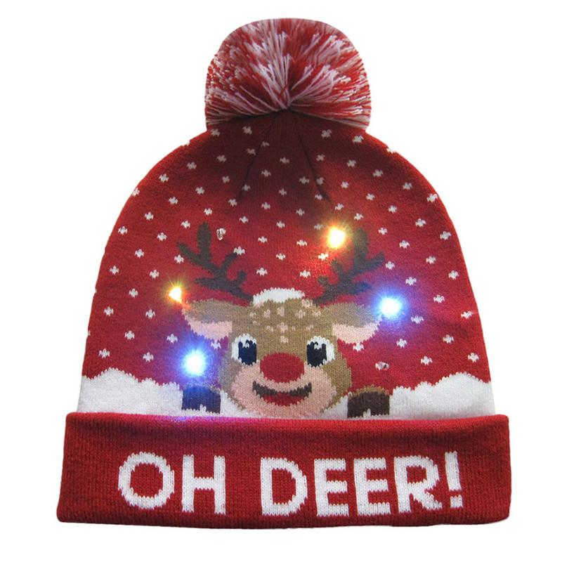 89664b97c3e38 2018 Women s Novelty LED Light-up Knitted Beanies Hat Boys Ugly Sweater Holiday  Xmas Christmas Hats For Men Girls Led Light Cap1