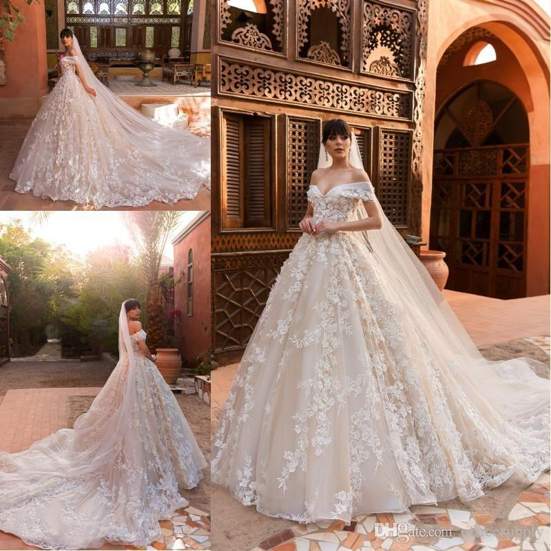 803fd05b42c Discount 2019 Ball Gown Wedding Dresses Off The Shoulder Full 3D Flowers  Lace Court Train Custom Made Bridal Gowns Wedding Dresses And Prices  Wedding ...