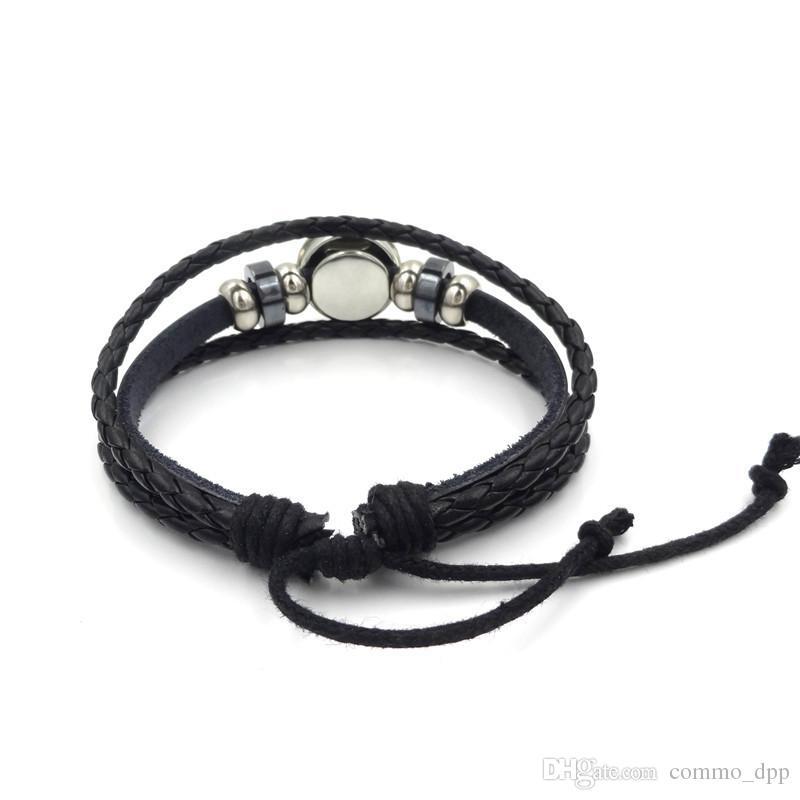 New Sugar Skull Druckknopf Bettelarmband 18mm Glas Cabochon Ingwer Snap Multilayer geflochtenen Seil Armreif Für Frauen Männer Modeschmuck