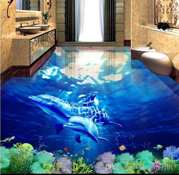 Papel de parede para paredes do quarto Baleia Underwater World 3D tridimensional banheiro chão para pintura de piso
