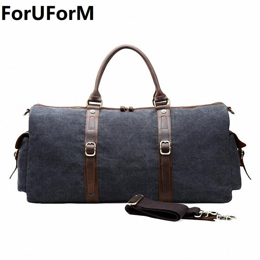 New Canvas Leather Men Bucket Travel Bags Carry On Luggage Bags Men Duffel  Travel Tote Large Weekend Bag Overnight LI 2103 Travel Duffel Bags Duffle  Bags ... ff2f4be283c5f