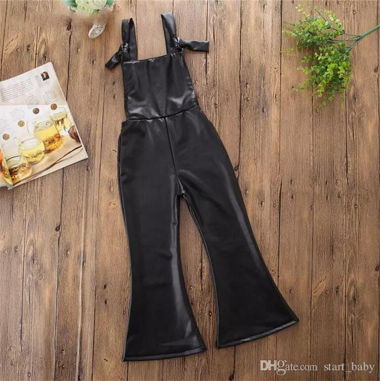 Meninas calças de couro PU suspender INS Flare Macacão calças 2018 NOVAS crianças Macacões Crianças Boutique roupas B11